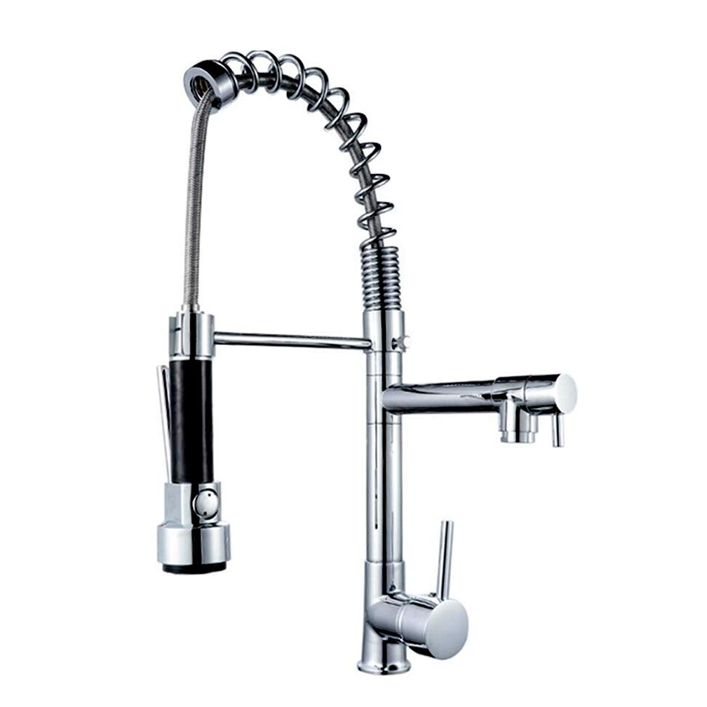 Rainier Pull Down Kitchen Faucet Gooseneck Style (Brushed Satin Nickel) by Pacific Bay - This Beautiful Upgrade Features a Pull Out Sprayer, Single Lever, and a Spring Coil Spout