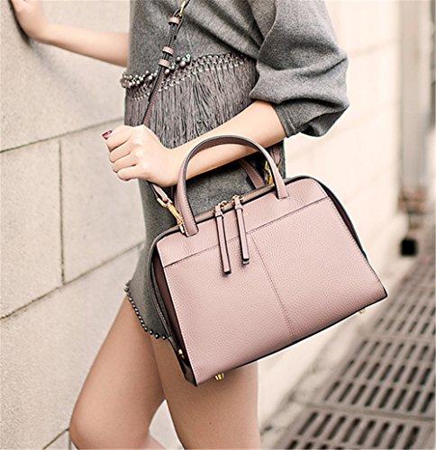 Xinmaoyuan Bolsos Mujer bolsos de cuero Bolsos de primavera sección vertical de color puro, Rosa Bolsa de Boston. Rosa