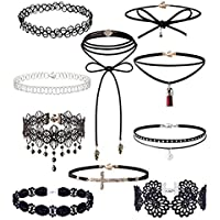 Hunputa 10 Pieces Punk Diamond Cross Tassel Pendant Choker Necklace Set Black Stretch Leather Velvet Classic Gothic Tattoo Lace Choker