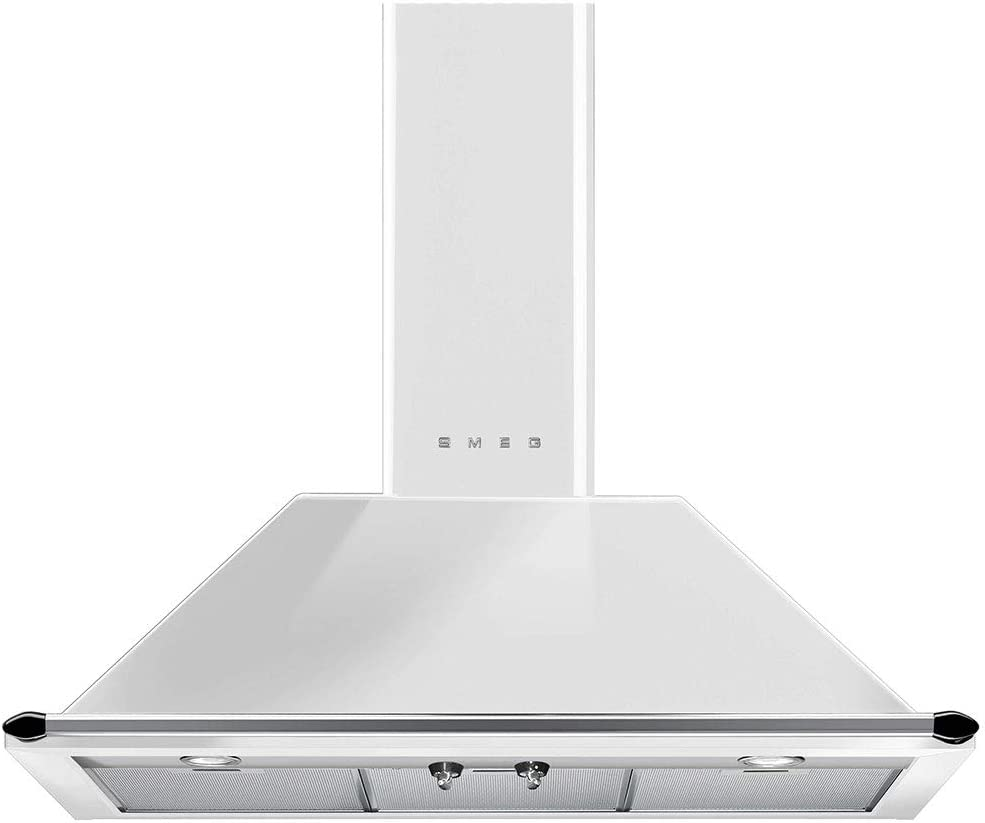 Smeg KTU36WH Victoria Series Wall Ventilation Hood 36-Inch with 2 Halogen lights, 4 Speeds, 3 Aluminium Grease Filters, White