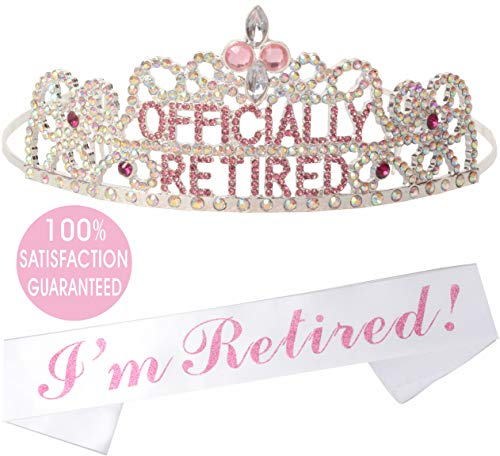 Officially Retired Retirement Party Set | Officially Retired Tiara/Crown | Retired Sash | Officially Retired Satin Sash| Retirement Party Supplies, Gifts, Favors | Great for Retireme (Pink)]()