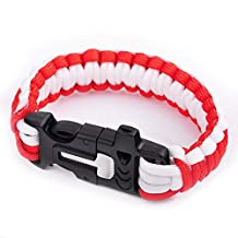 Ashley Jeweller Outdoor Survival Paracord Rope Bracelet with Magnesia Fire Starter Stainless Scraper G