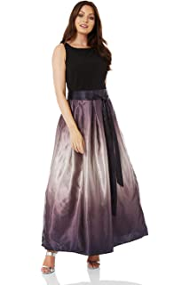 7cc793d1611 Roman Originals Women Satin Ombre Maxi Dress - Ladies Special Occasion  Cruise Elegant Evening Formal Long