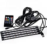 Racbox LED Strip Light Car Atmosphere Interior Light LED Floor Deco Lamp with USB Connector Wireless Remote Control RGB Smart Color Set of 4