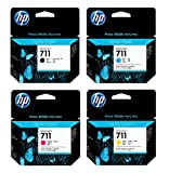 Genuine HP 711 CZ133A, CZ134A, CZ135A, CZ136A Ink Cartridge Set BCYM for HP DesignJet T120, T520 - Retail Packaging