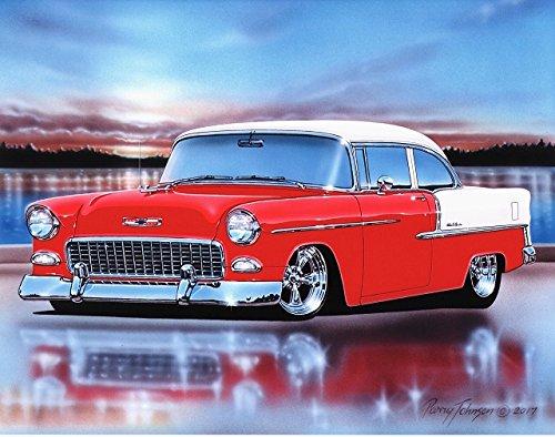 [1955 Chevy Bel Air 2 Door Sedan Hot Rod Car Art Print 11x14 Red & White] (Bel Air 2 Door Sedan)