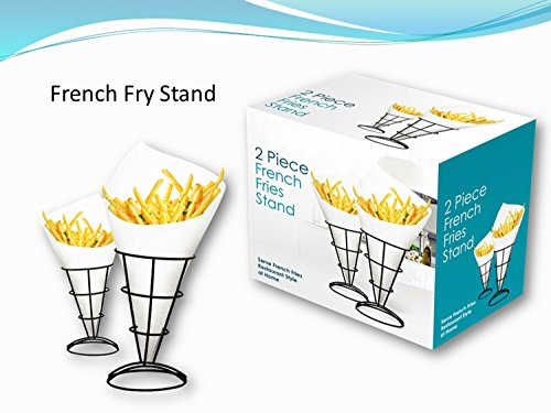 2-Piece French Fry Stand Cone Basket Holder for Fries Fish and Chips and Appetizers by Twain & Moss (Image #1)