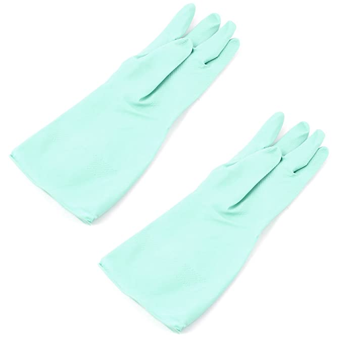 Household Kitchen Dish Cleaning Green Rubber Washing Gloves Pair