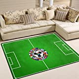 XiangHeFu Soft Doormats 7'x5' (80x58 Inches) Area Rugs Soccer Field With Ball And Flags Non-Slip Floor Mat Resting for Living Room Bedroom