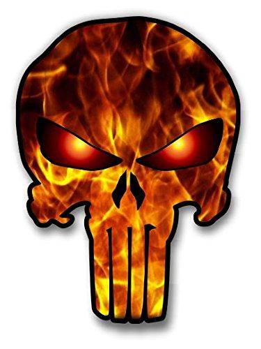 Punisher Skull Sticker Flames Graphic Vinyl Decal