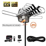 Outdoor 150 Mile HDTV Digital Antenna -150 Miles Range-360 Degree Rotation Wireless Remote