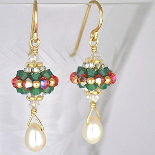 dcrafted with Austrian Crystals and Cultured Freshwater Pearls in 14K Gold Fill (Handcrafted Artisan Austrian Crystal)