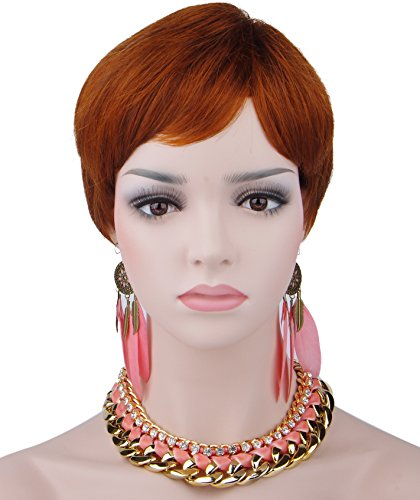 Spretty Women's Charming Short Red-brown Bob Heat Resistant Synthetic Wig for Cosplay