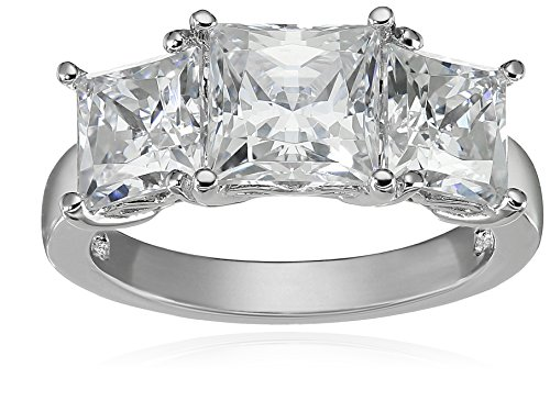 Platinum-Plated Sterling Silver Princess-Cut 3-Stone Ring made with Swarovski Zirconia (4 cttw), Size 6