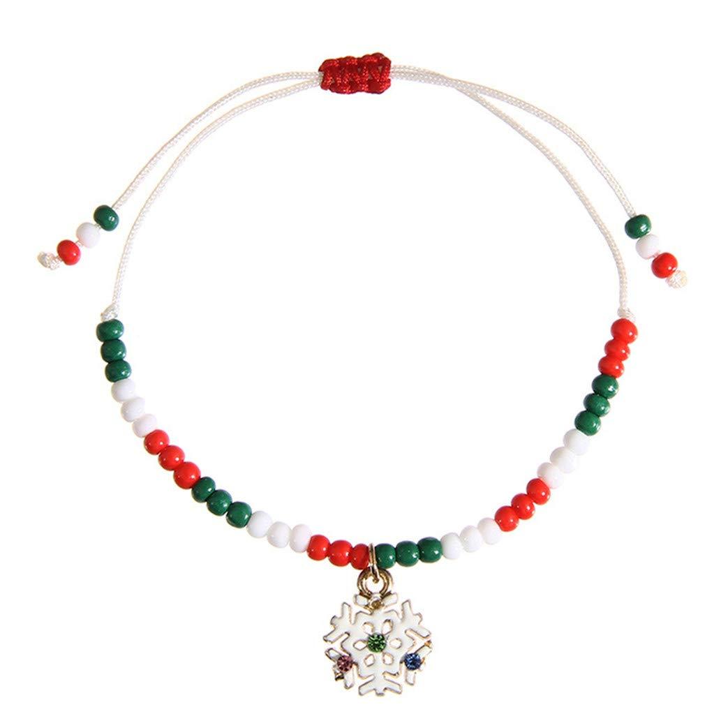 KISSFRIDAY Weihnachten geflochtene Armband Schneeflocke Charme einstellbar Handgelenk Schmuck für Geschenk Shumeng