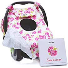 """Sho Cute - [Reversible] All-Season Carseat Canopy   Pink & Grey Floral Car Seat Covers for Girls   """"Rose Lux""""   Nursing Cover   Fits Most Infant Car Seats   Flower Print Baby Gifts -Patent Pending"""