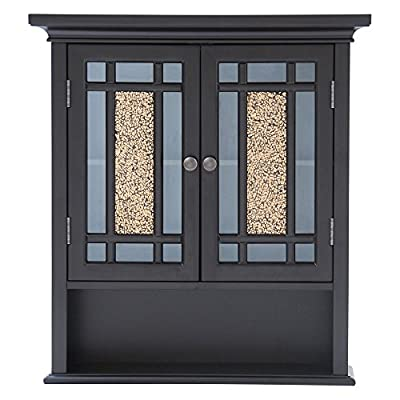 Elegant Home Fashions Windsor Wall Cabinet - Two Doors / One Shelf - Dark Espresso