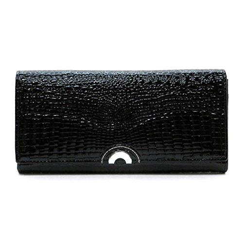 Multi Leather Organizer Black Wallet Clutch Crocodile Genuine Wallet Womens Pattern Aw0100 Pqtw7xtdA