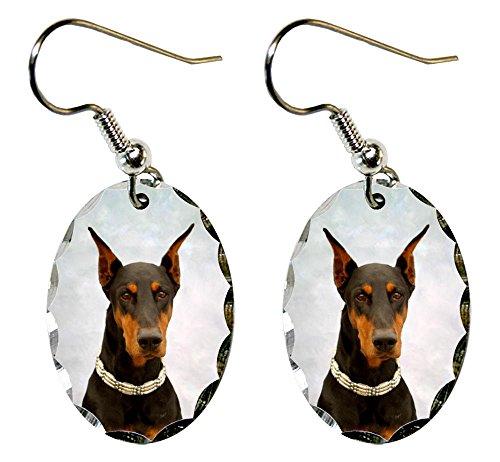 Canine Designs Doberman Pinscher Scalloped Edge Oval Earrings ()