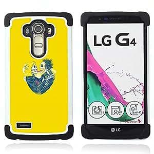 BullDog Case - FOR/LG G4 H815 H810 F500L / - / YELLOW SKULL BRIDE LOVE SPRING FUNNY /- H??brido Heavy Duty caja del tel??fono protector din??mico - silicona suave
