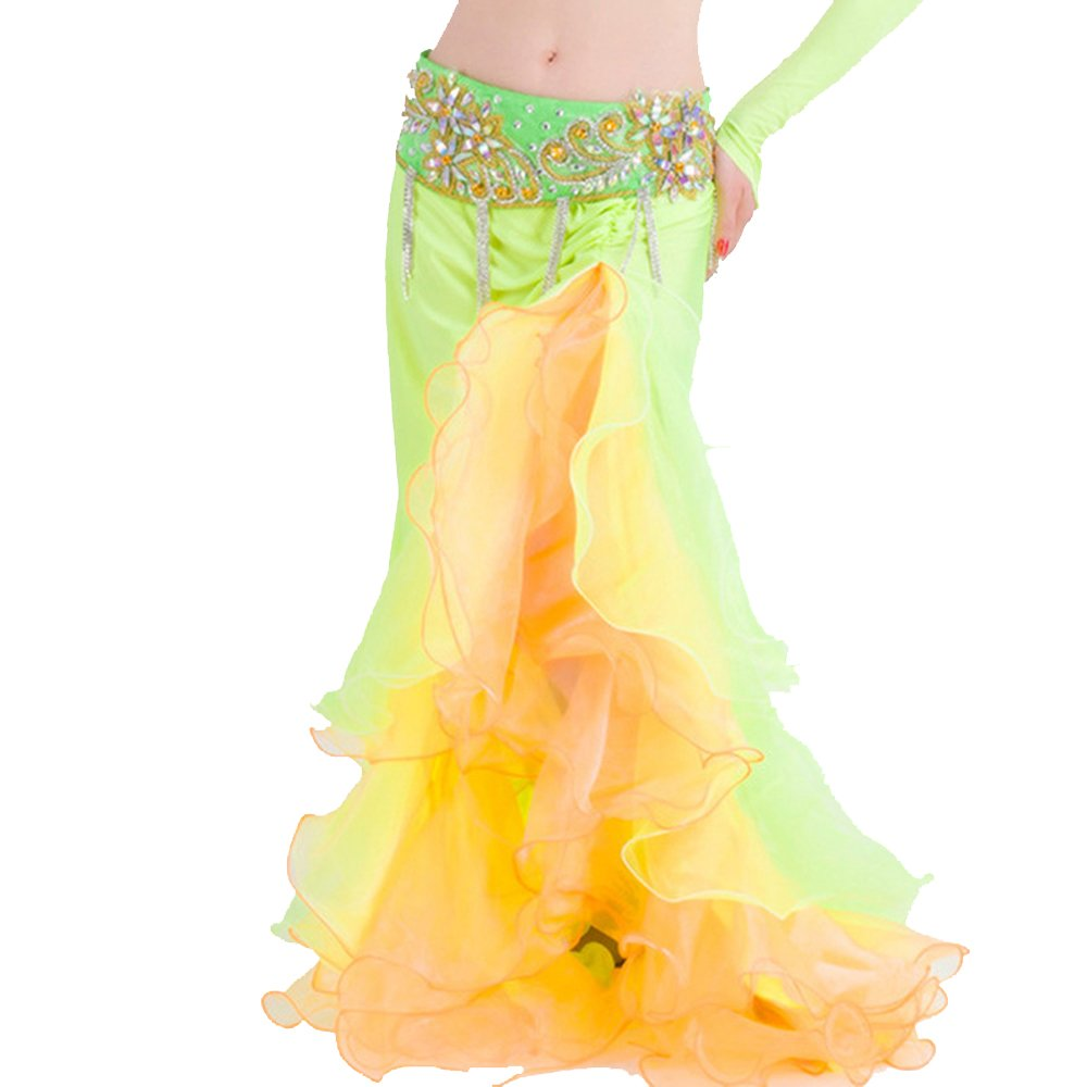 6887c5977f Material: Elastic satin+Artificial Silk(wavy),comfortable to skin. One side  split to make your dance show more sexy and easy. Skirt only,not include  belt.