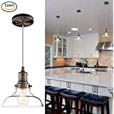 Donglaimei Mini Vintage Clear Glass Pendant Light, Edison Industrial Design Hanging Fixture Lights, Single Bulb Lighting for Kitchen Island, Living Room, Dining Room(1 Pack)