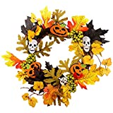 DOSOMI Halloween Decoration 13.78'' Hanging Wreath Scarecrow Girl Witch Festival Creative Jewelry Bar Birthday