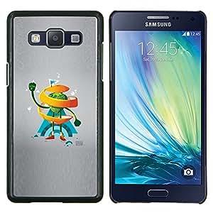 KLONGSHOP // Cubierta de piel con cierre a presión Shell trasero duro de goma Protección Caso - Naranja del remolino de Hombre - Samsung Galaxy A5 A5000 //