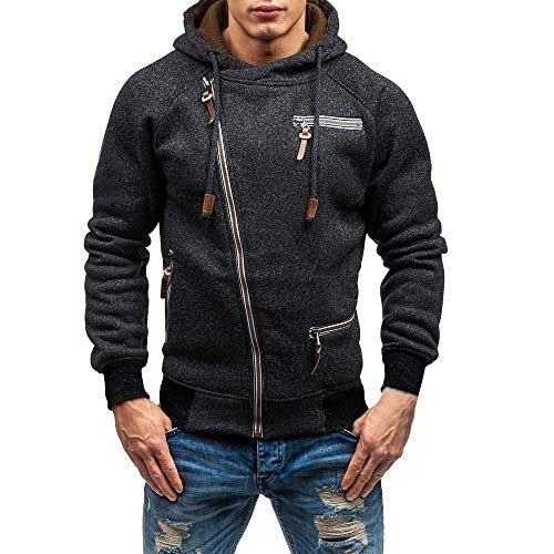 Fashion Men's Casual Long Sleeve Autumn Zipper Hooded Sweatshirt Outwear Tops Blouse