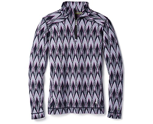 SmartWool Women's Merino 250 Baselayer Pattern 1/4 Zip Purple Mist L