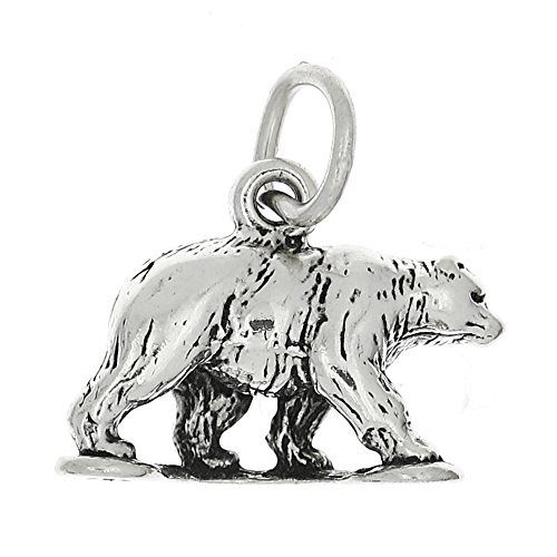 (Sterling Silver Oxidized Three Dimensional Grizzly Bear Charm)