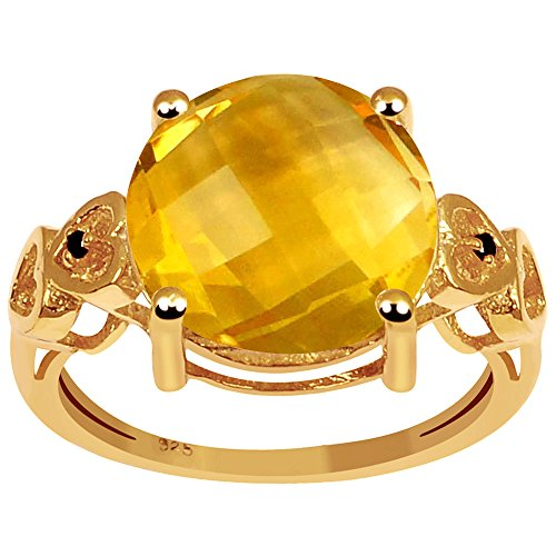 Citrine & Black Spinel 18k Gold Over Sterling Silver Ring (12MM Checkerboard Round)