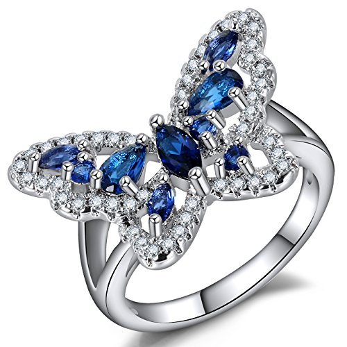 Blue Butterfly Rings for Women - Waterdrop Marquise Crystal Cubic Zirconia Friendship Ring for Girls
