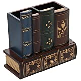 Decorative Library Books Design Wooden Office Supply Caddy Pencil Holder Organizer with Bottom Drawer Picture