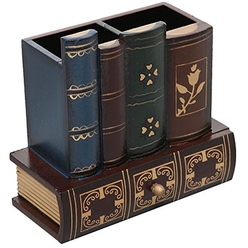 Decorative Library Books Design Wooden Office Supply Caddy Pencil Holder Organizer with Bottom Drawer (Pen Stylish Holder)