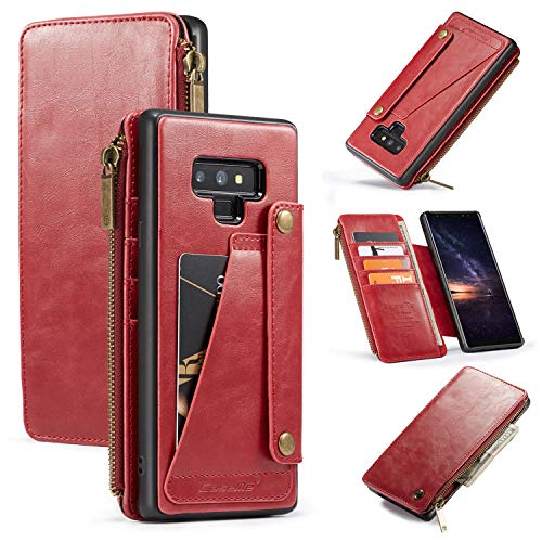 Samsung Galaxy Note 9 Wallet Case, 2-in-1 Detachable Premium Leather Wallet Case with 5 Card Holder Slots & Smooth Zipper Wallet, Durable Protective Case & Leather Folio Purse (RED)