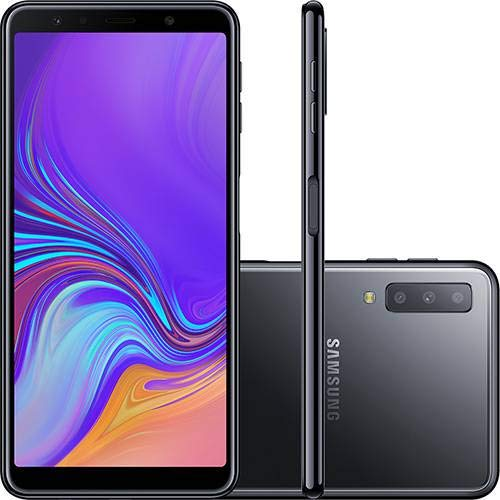 370186558 Smartphone Samsung Galaxy A7 64GB Dual Chip Android 8.0 Tela 6 quot  4G  Camera Triple Preto