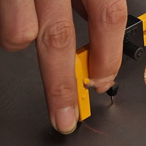 WellieSTR ロータリーサークルカッター (ブレード付き) 調節可能なハンドサークルマットカッター カットラウンドホール レザークラフトレザーペーパーなどに