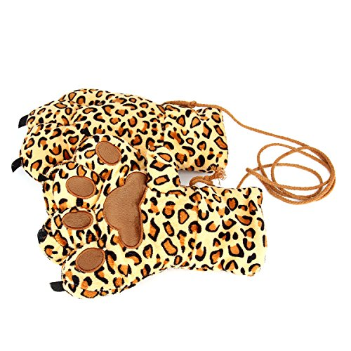 Party mittens, Leopard Print Gloves Mittens with a String, Plush Warm Wild Animal Paw Claw Fuzzy Party Props Favors (Wild Animal Paw Prints)