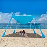 UBOWAY Beach Sunshade Tent with Sandbag Anchors and Canopy for Beach, Picnic, Camping (7 x 7 ft Blue)
