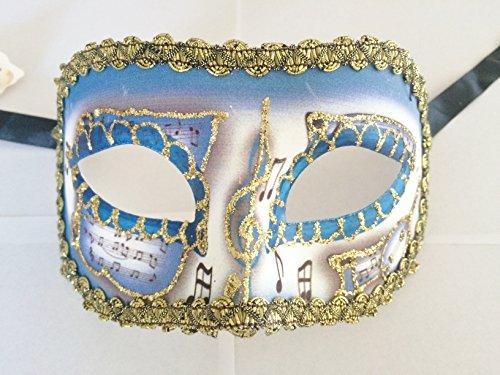 Dark Blue Gold Trim Mask Colombina Pergamena Masquerade Venetian Costume (Venetian Mask With Gold Trim)