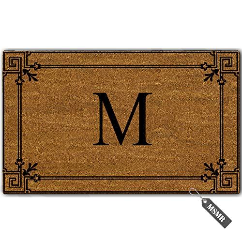 MsMr Personalized Monogram Door Mat Indoor Outdoor Custom Doormat Decorative Home Office Welcome Mat M Letter Doormat 23.6