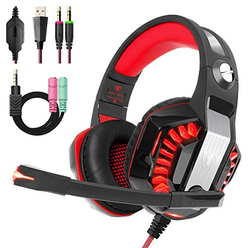 Beexcellent Gaming Headset for PS4 PC Xbox One, Over Ear Gaming Headphones with Stereo Surround Sound, LED Light, Noise Cancelling Mic for Mac Laptop