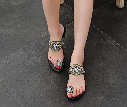 Summer Toe Flip Femmes Flops 41 Ethnique Brodé Beach Sandales DANDANJIE Blanc Plates 35 Noir Perlé Clip Bas Style Black à Talons dxt0w55