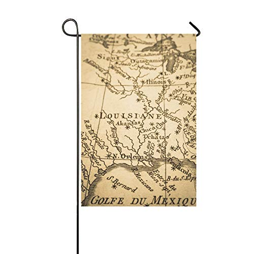 WUTMVING Home Decorative Outdoor Double Sided Old Map America New Orleans Garden Flag,House Yard Flag,Garden Yard Decorations,Seasonal Welcome Outdoor Flag 12 X 18 Inch Spring Summer Gift ()
