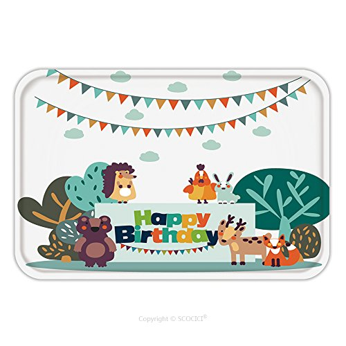 Flannel Microfiber Non-slip Rubber Backing Soft Absorbent Doormat Mat Rug Carpet Happy Birthday Lovely Vector Card With Funny Cute Animals And Garlands Modern Vector Style 547619020 for Indoor/Outdoor