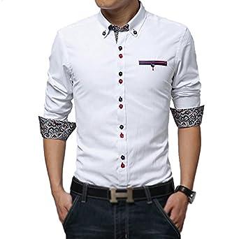 Pearl Ocean Men's Satin Casual Shirt (White Fancy 999_White_40 ...
