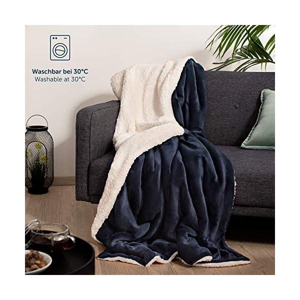 51Dqs5HLv5L Blumtal Flauschige Sherpa Kuscheldecke – hochwertige Wohndecke, super weiche Fleecedecke als Sofaüberwurf, Tagesdecke…