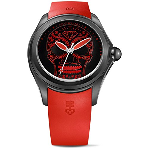 Corum Men's Bubble Limited Edition 47mm Red Rubber Band IP Steel Case Automatic Watch 082.310.98/0371 SM02