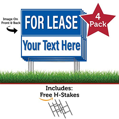 HALF PRICE BANNERS - Custom - FOR LEASE - 4 Pack Double Sided Coroplast Yard Signs - 18''x24'' Blue - Made in The - Ink Uv Cp